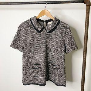 Anthropologie Thornburgh Boucle Top Tweed & Collar